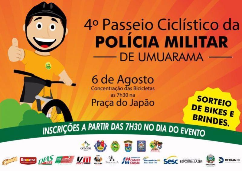 4º Passeio Ciclístico da Polícia Militar de Umuarama será dia 06 de agosto, inscrições serão no local do evento