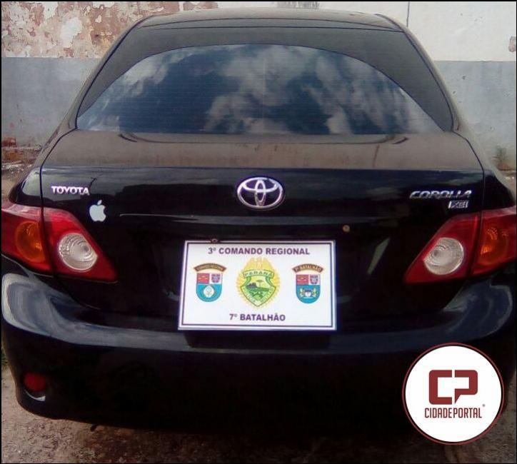 Policia Militar de Mariluz recupera veículo tomado de assalto em residência na noite de terça-feira, 10