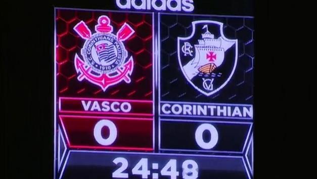 Placar de estádio em Orlando troca nomes de Corinthians e Vasco