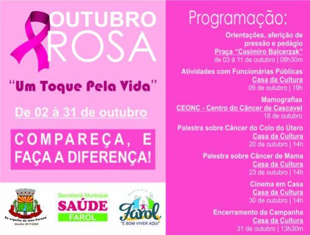 Secretaria Municipal de Saúde de Farol lança campanha do Outubro Rosa