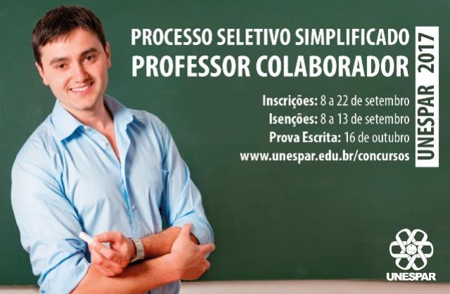 Unespar abre teste seletivo para professores colaboradores
