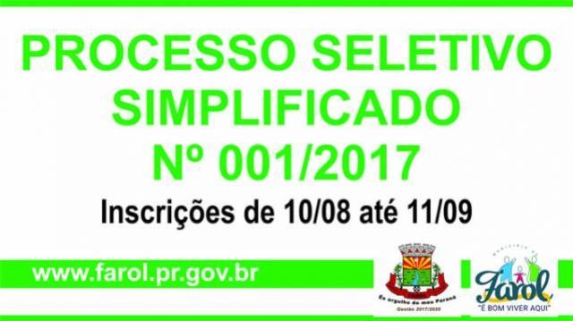 Prefeitura de Farol abre inscrições para PSS