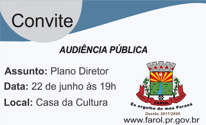 Farol irá realizar audiência pública do Plano Diretor
