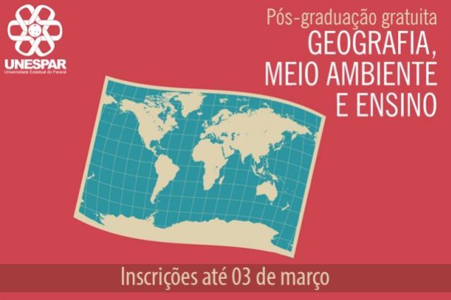 Unespar inscreve para especialização gratuita em Geografia
