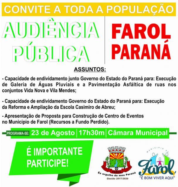 Audiência Pública sobre recursos do Governo do Estado será realizada em Farol nesta quarta-feira