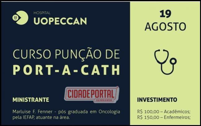 Curso de punção port-a-cath será realizado em Umuarama, promovido pelo Hospital Uopeccan e as inscrições já estão abertas
