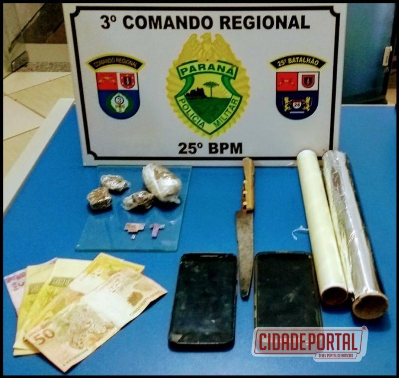 Equipes do serviço reservado, RPA, Canil e Rocam, realizam prisão de traficante e usuário de drogas no conjunto guarani em Umua