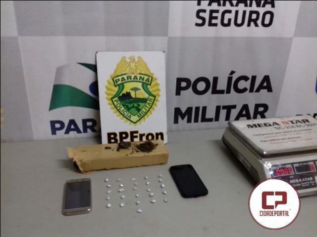 Policiais Militares do BPFron aprende menor e prende um menor acusados de tráfico de drogas