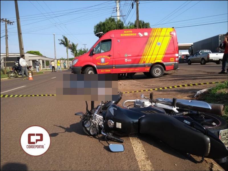 Grave acidente envolvendo um ciclista em uma motocicleta deixa uma vítima fatal na manhã desta quarta-feira,11 em Campo Mourão