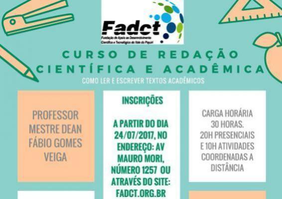 FADCT oferece Curso de Redação Científica e Acadêmica, aos professores, acadêmicos e comunidade em geral
