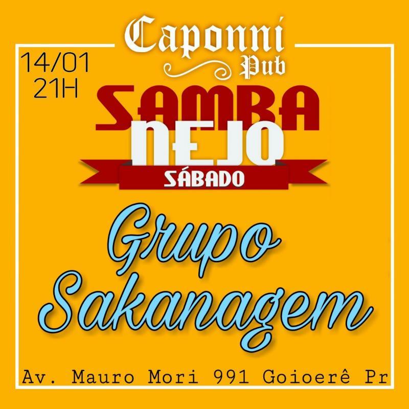 Neste sábado, 14, Pub Caponni terá Sambanejo com o Grupo Sakanagem