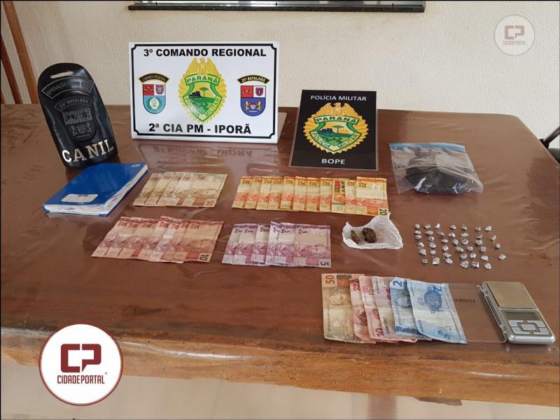 Equipes Policiais de Umuarama e Iporã durante mandados judiciais apreendem drogas, dinheiro encaminham três pessoas por tráfico