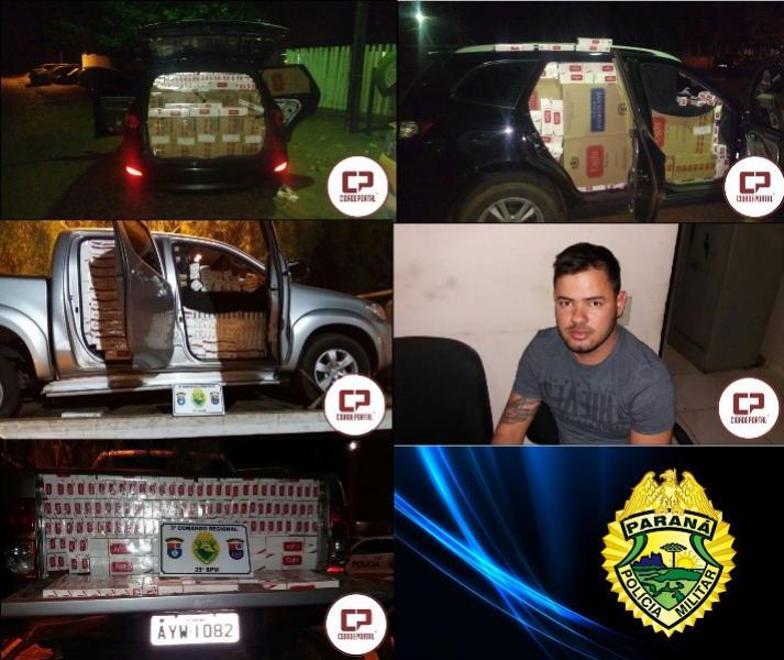 Equipe Rotam apreende 2 veículos roubados carregados de cigarros e prende um dos condutores