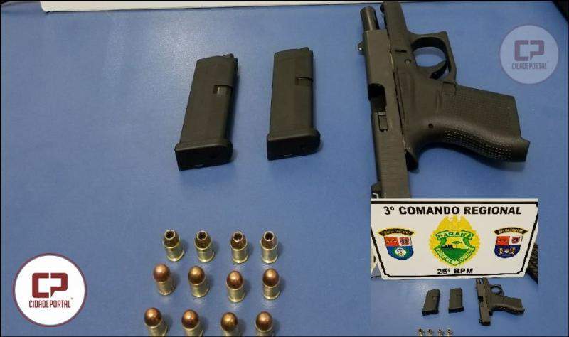 Equipes da RPA de Umuarama apreendem uma pistola .380 glock e sete munições