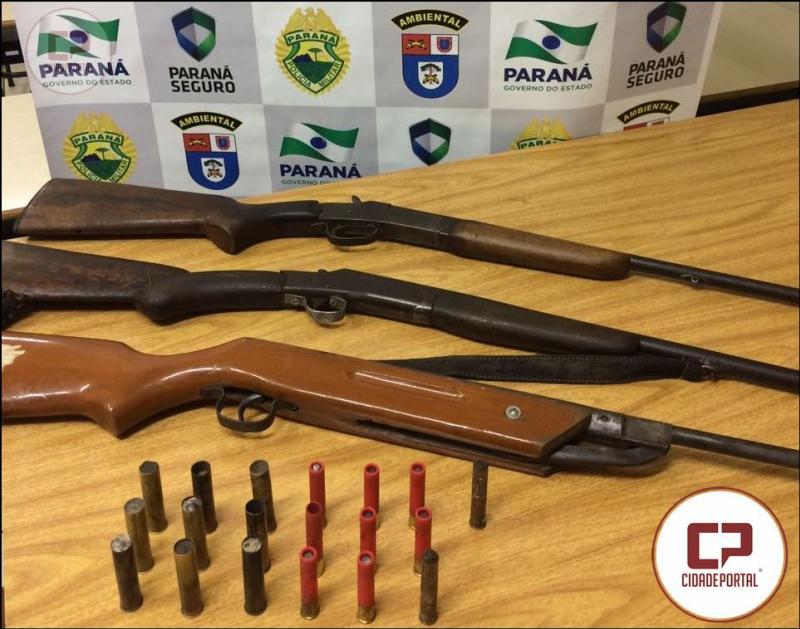 Após denuncia Polícia Ambiental de Umuarama apreende ema pessoa e três armas em Maria Helena