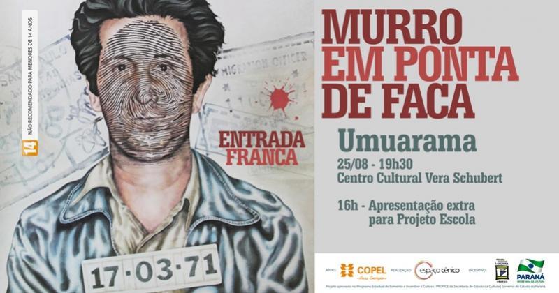 Espetáculo teatral Murro em Ponta de Faca, sera realizado nesta sexta-feira, 25 no Centro Cultural Schubert - entrada franca