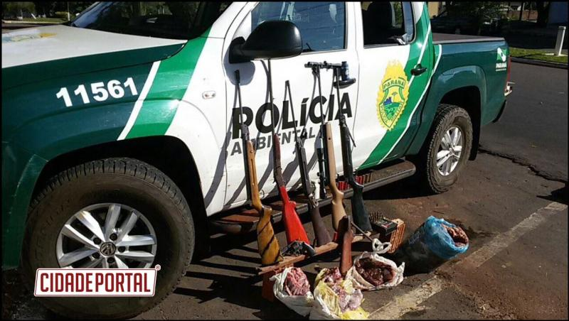 Polícia Ambiental apreende 06 armas de caça, munições e carne de animais silvestres em Moreira Sales