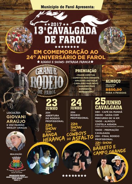 Farol comemora 24 anos com ato cívico, rodeio, shows e cavalgada