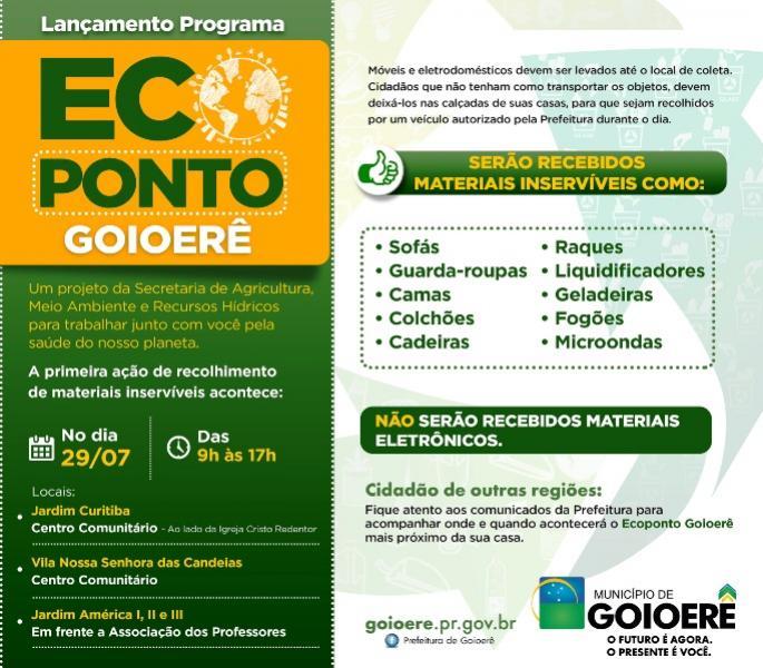 Programa Ecoponto Goioerê, tendo como incentivo ao descarte consciente será lançado oficialmente neste sábado, 29