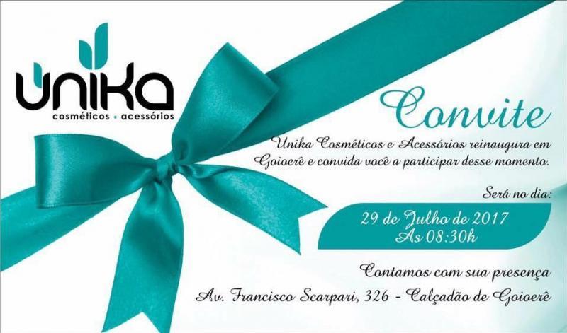 Participe da reinauguração da única cosméticos, neste sábado 29, a partir das 8:30 da manhã