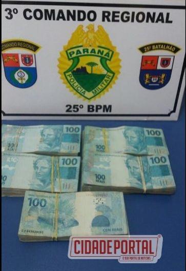 Equipe Policial de Umuarama encaminha indivíduo com grande montante de dinheiro para esclarecimentos