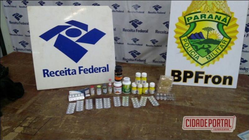 Policiais do Batalhão de Polícia de Fronteirae da Receita Federal prenderam um homem com anabolizantes e medicamentos proibido