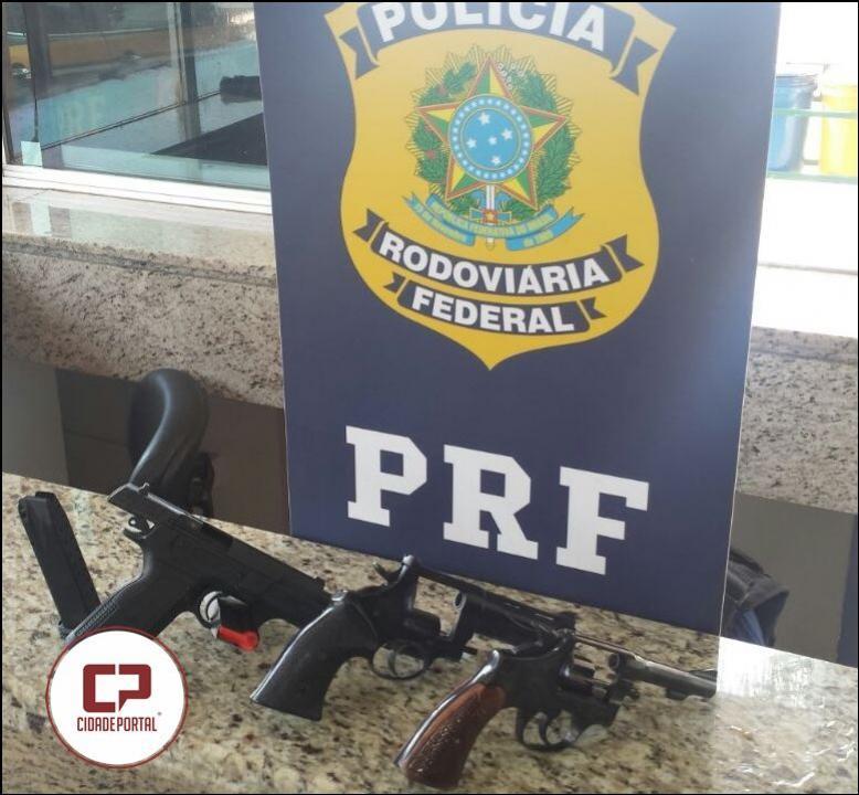 PRF apreende no Paraná três armas que seriam levadas para o Rio de Janeiro
