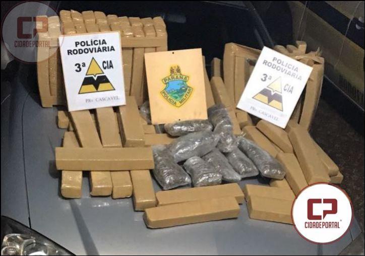Posto Policial Rodoviário de Cascavel realizou apreensão de 73 KG de maconha durante fiscalização