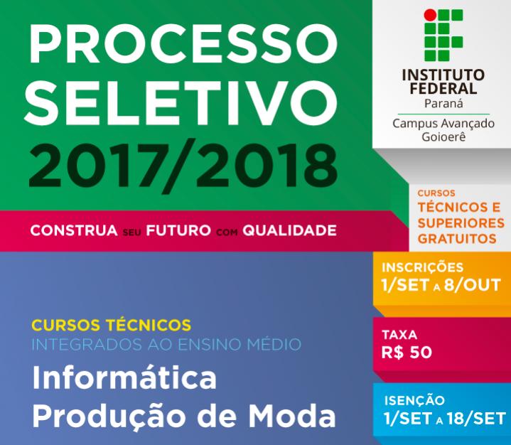 Última semana para inscrição no processo Seletivo IFPR 2018 - as inscrições irão até o dia 08 de outubro