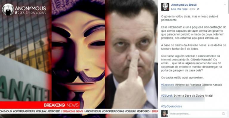 Anonymous expõe dados de Gilberto Kassab em protesto contra limites de internet