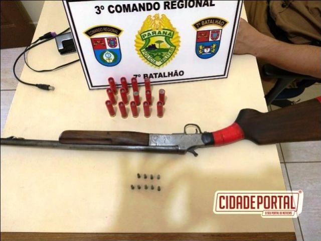 7º Batalhão de Polícia Militar, apreende espingarda calibre 28, 14 cartuchos calibre 28 e 9 de calibre 22 em Tapira