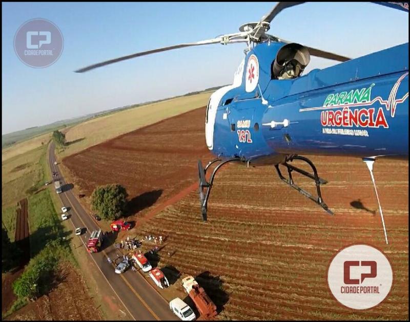 Um grave acidente automobilístico foi registrado na PR-492 entre Paraíso do Norte e Rondon