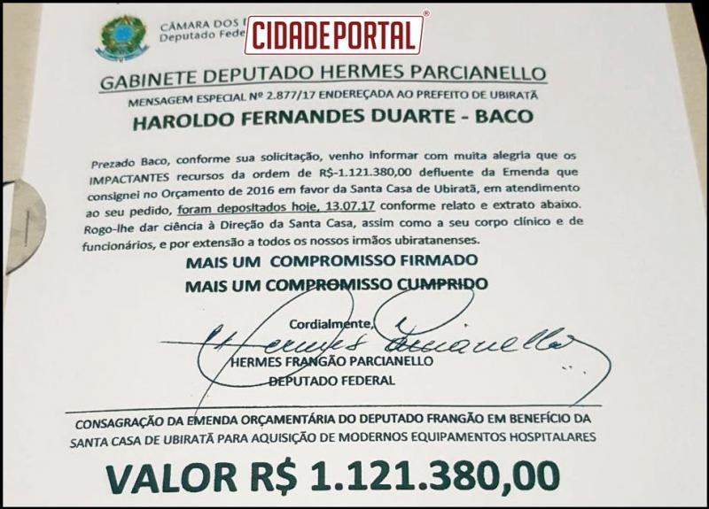 Recursos de Hum milhão de reais para Santa Casa de ubiratã através do Deputado frangão foi liberado dia 13 de julho