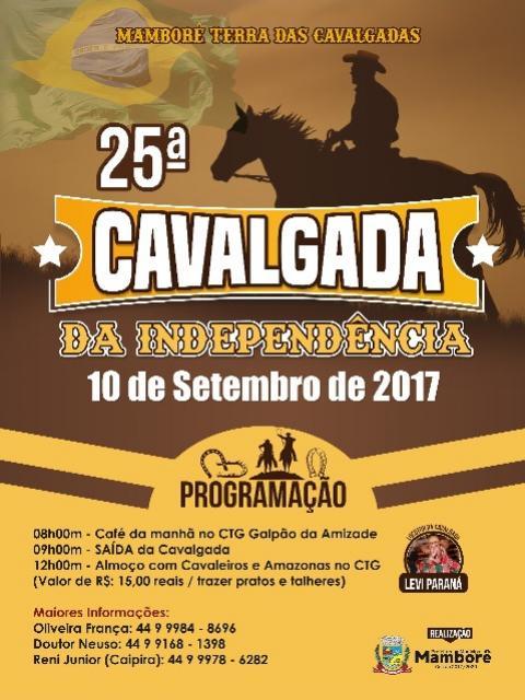 Dia 10 de setembro acontecerá a 25ª Cavalgada da Independência de Mamborê