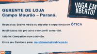 Vaga para Vendedor e Gerente - Campo Mourão