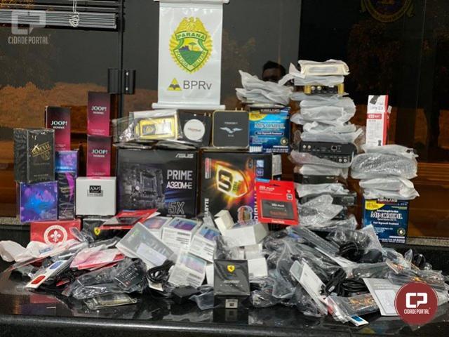 PRE de Cruzeiro do Oeste apreende 4 malas repletas de produtos eletrônicos