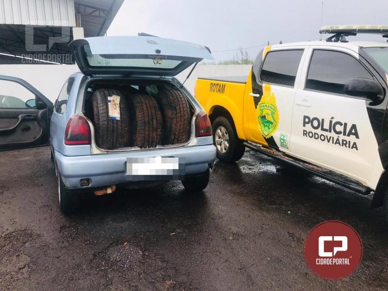 Equipe Rotam da 3ªCia/BPRv apreende veículo carregado com Pneus contrabandeados na PR-486