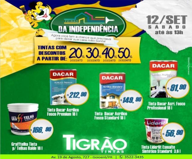Feirão da Independência - Tigrão Tintas com descontos de até 50% aproveite