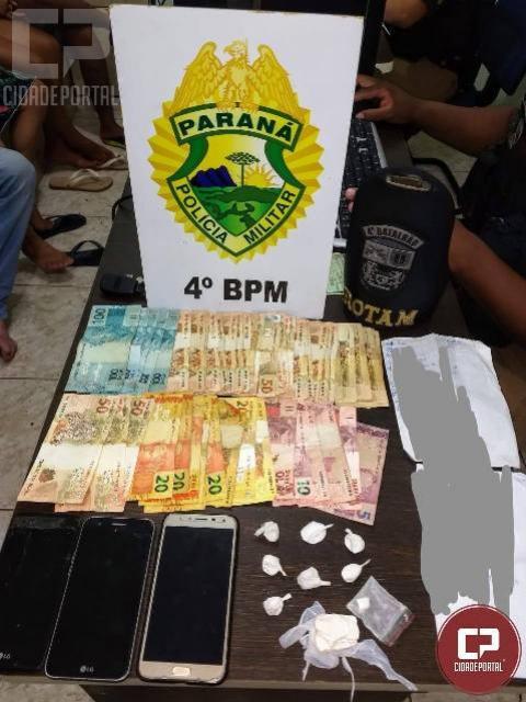 Polícia Militar prende dois traficantes, cumpre mandado de prisão e apreende droga e dinheiro em Maringá
