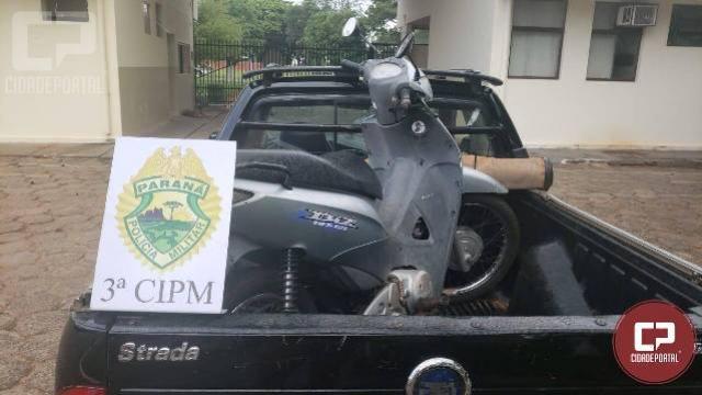 Polícia Militar da 3ª CIPM recupera em Santa Isabel do Ivaí motoneta que havia sido subtraída em Cianorte/PR
