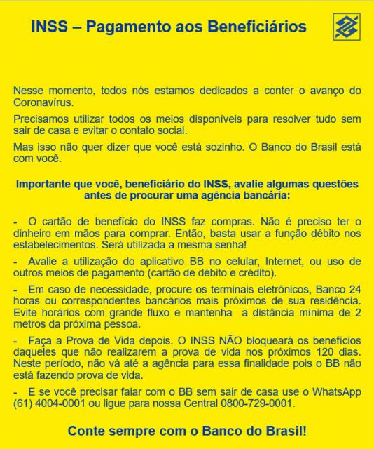 Comunicado do Banco do Brasil aos Pensionistas do INSS
