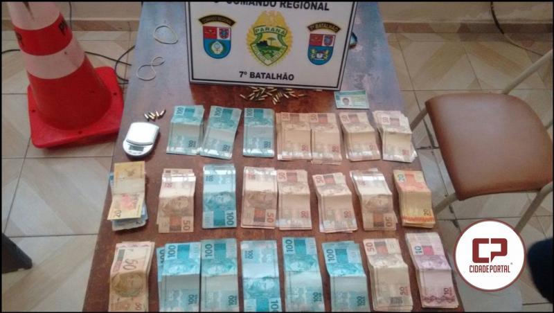 Após denuncia traficante foragido é preso em Goioerê com R$ 22 mil reais, munições e documentos falsos