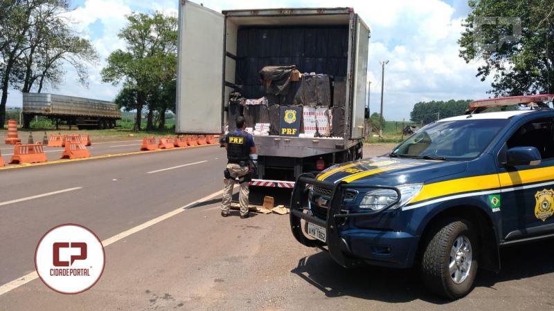300 mil maços de cigarros foram apreendidos pela Polícia Rodoviária Federal posto de Ubiratã