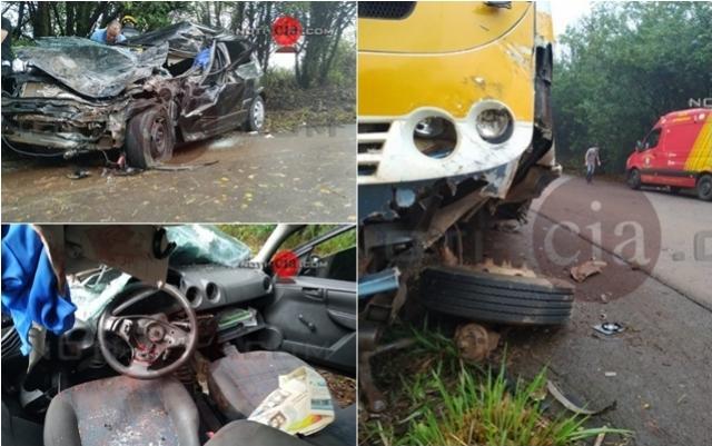 Cidade Gaúcha: Colisão frontal entre ônibus e carro deixa condutor em estado grave na PR-082
