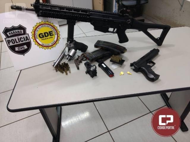 Polícia Civil de Umuarama prende em flagrante três homens e apreende armas, simulacro e munições
