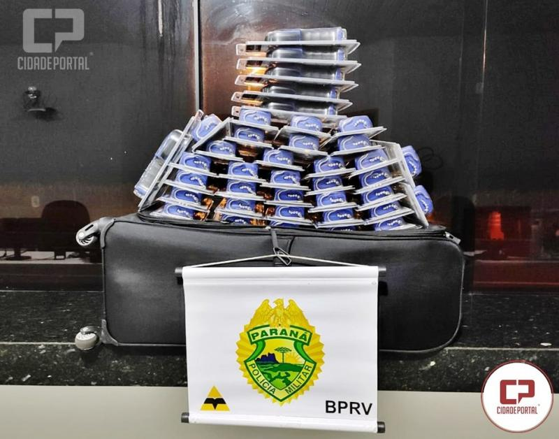 Polícia Rodoviária Estadual apreende contrabando em ônibus interestadual na PRC-272