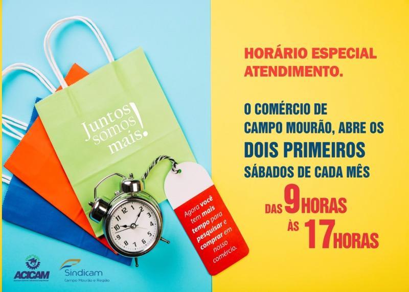 56739db06 Lojas com horário especial nos dois próximos sábados em Campo Mourão ...