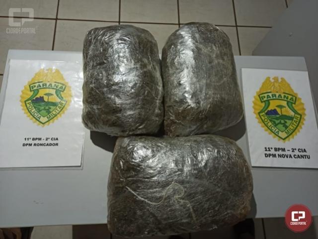 Polícia Militar apreende mais de 3 kg de maconha em Roncador