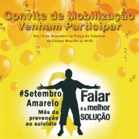 Campanha de prevenção ao suicídio terá ato dia 14 de setembro em Campo Mourão