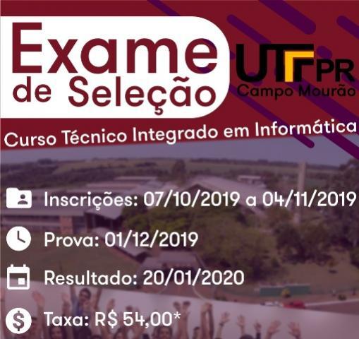 Inscrições para exame do curso técnico em informática da UTFPR-CM começam nesta segunda, 07
